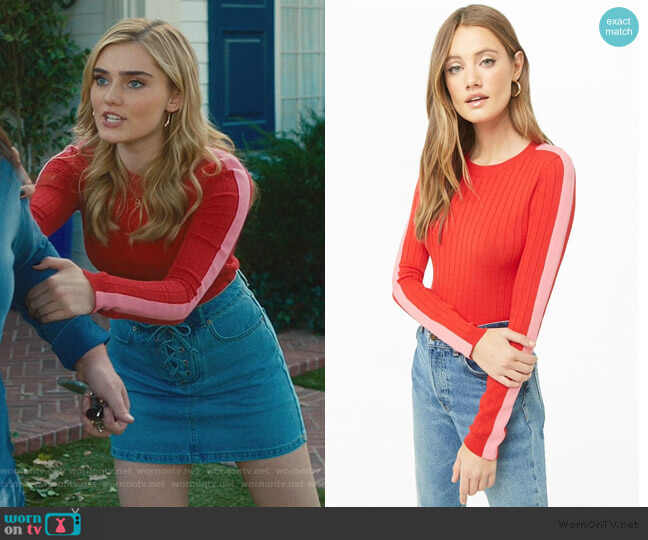 Ribbed Mock Neck Top by Forever 21 worn by Taylor Otto (Meg Donnelly) on American Housewife