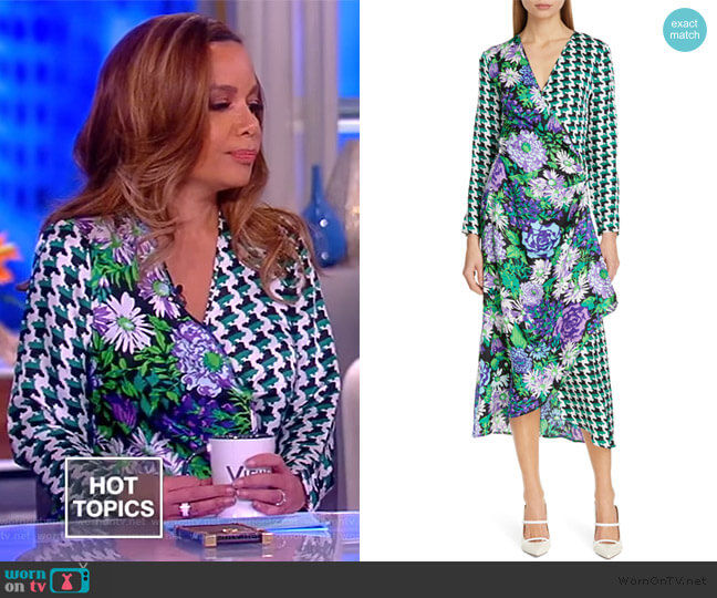 Betty Floral & Houndstooth Print Wrap Dress by Rixo worn by Sunny Hostin  on The View