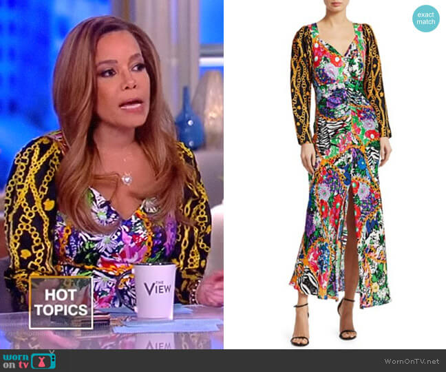 Madonna Mixed Print Dress by Rixo worn by Sunny Hostin  on The View