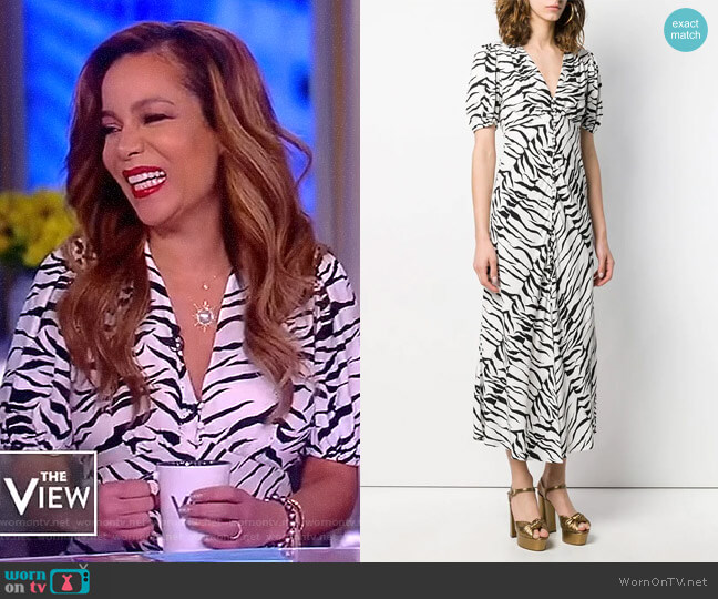 Tonya tiger print dress by Rixo worn by Sunny Hostin  on The View
