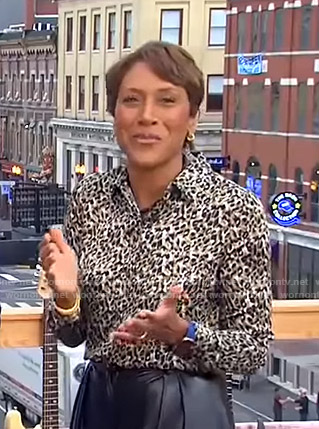 Robin's leopard print blouse on Good Morning America