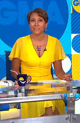 Robin's yellow flutter sleeve dress on Good Morning America