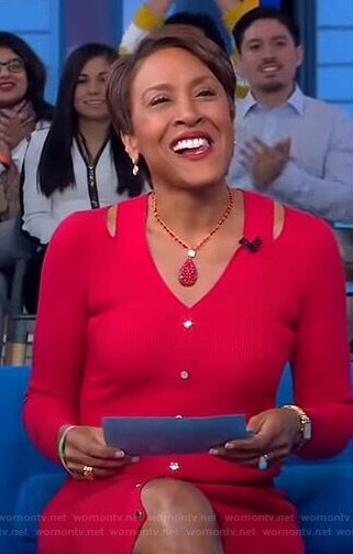 Robin's button front cutout dress on Good Morning America