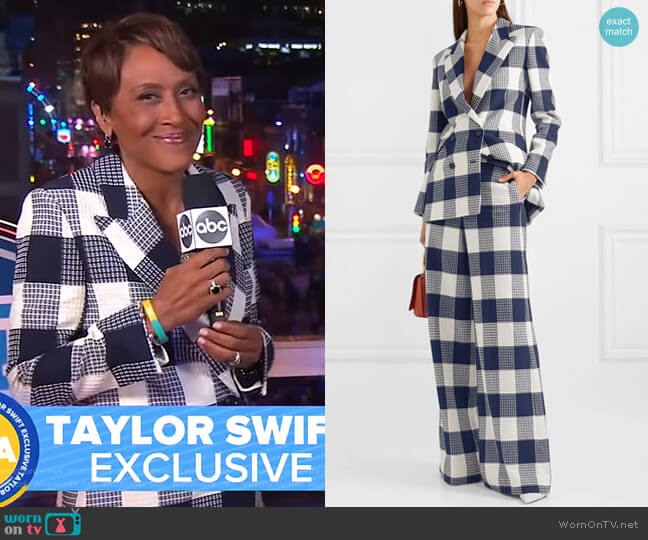 Harleston Blazer and Delano Pants by Roland Mouret worn by Robin Roberts  on Good Morning America