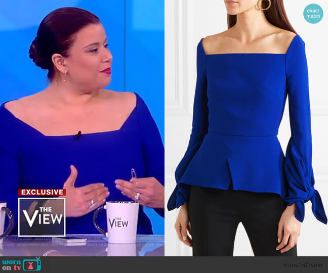 Wicklow crepe peplum top by Roland Mouret worn by Ana Navarro  on The View