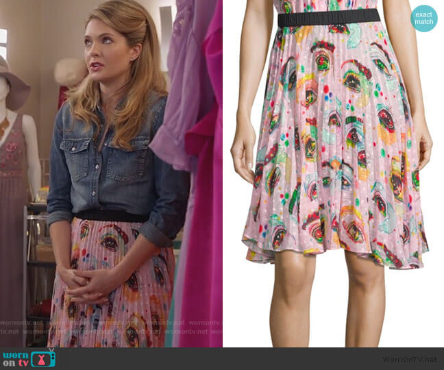 Rainbows Edge Eyeconic Pleated Skirt by Romance Was Born worn by Sutton (Meghann Fahy) on The Bold Type