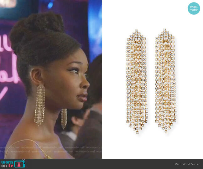 Gelo Crystal and Pearl Tassel Earrings by Rosantica worn by Monica Colby (Wakeema Hollis) on Dynasty