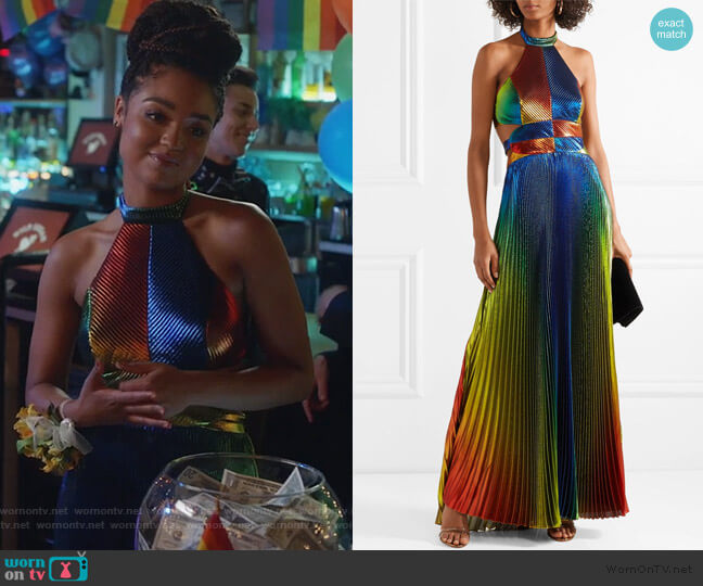 Cutout pleated silk-blend lamé halterneck gown by Rosie Assoulin worn by Kat Edison (Aisha Dee) on The Bold Type