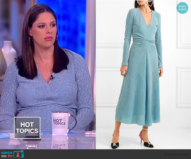 Gathered metallic stretch-knit midi dress by Rotate worn by Abby Huntsman  on The View