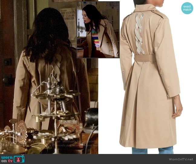 Sandro Emastic Trench Coat worn by Mona Vanderwaal (Janel Parrish) on PLL The Perfectionists