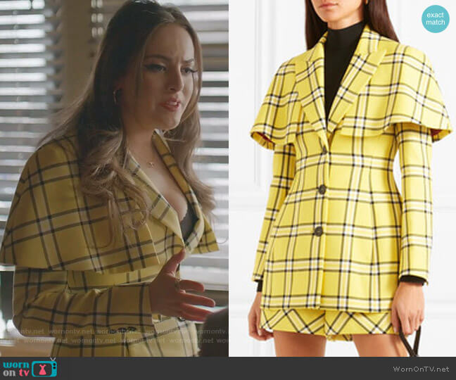 Cape-Effect Checked Wool Blazer and Shorts by Sara Battaglia worn by Fallon Carrington (Elizabeth Gillies) on Dynasty