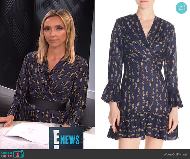 Chain Print Ruffle Detail Long Sleeve Mini Dress by Sandro worn by Giuliana Rancic  on E! News