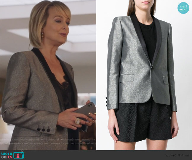 Metallic Fitted Blazer by Saint Laurent worn by Jacqueline (Melora Hardin) on The Bold Type