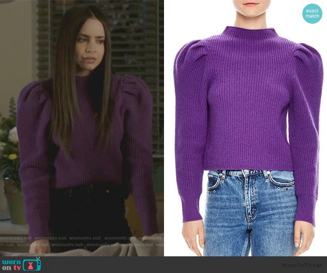 Hibou Ribbed Oversize-Shoulder Wool Sweater by Sandro worn by Ava Jalali (Sofia Carson) on PLL The Perfectionists