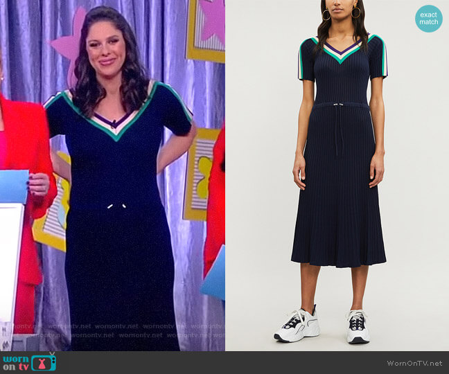 Sportswear stretch-knit midi dress by Sandro worn by Abby Huntsman  on The View