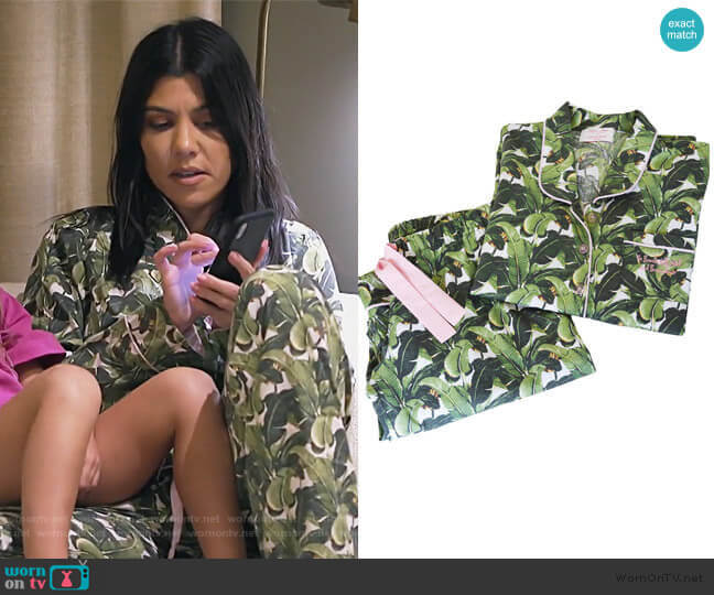 Long Sleeve MArtinique PJ Set by Sant and Abel worn by Kourtney Kardashian  on Keeping Up with the Kardashians