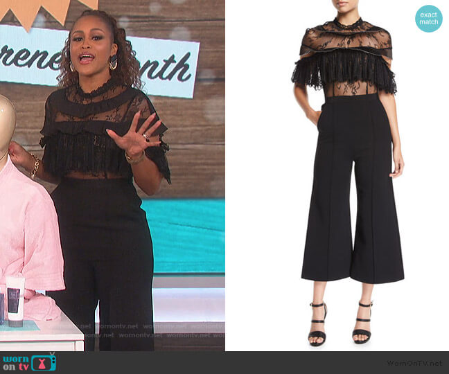 Fine Lace Wide-Leg Jumpsuit by Self Portrait worn by Eve  on The Talk