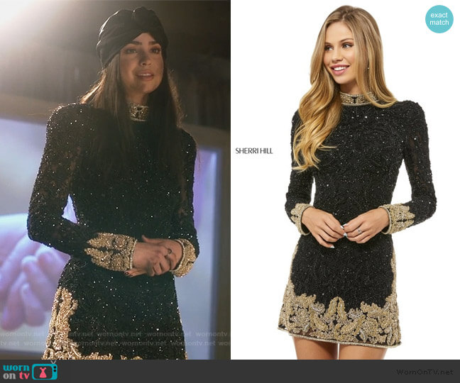 Style 52113 by Sherri Hill worn by Ava Jalali (Sofia Carson) on PLL The Perfectionists