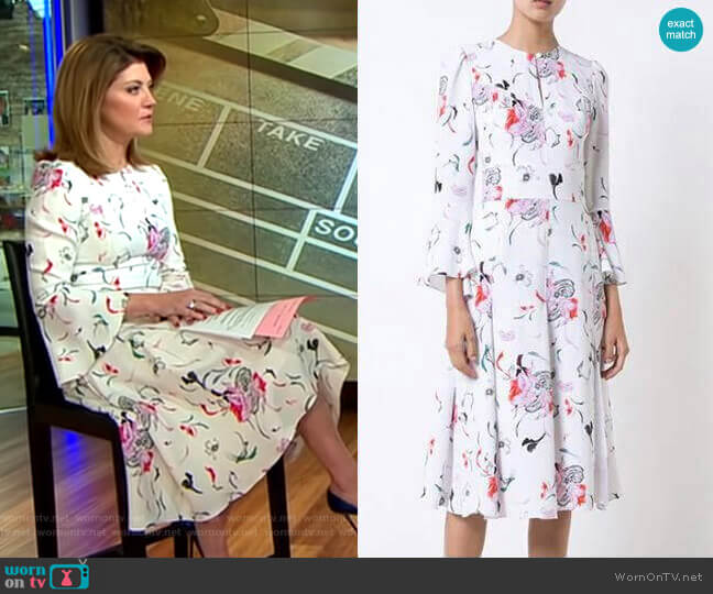 Silk Floral-Print Dress by Prabal Gurung worn by Norah O'Donnell (Norah O'Donnell) on CBS This Morning