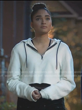 Simone's white cropped hoodie on Star