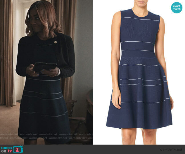 Stripe Knit Fit-and-Flare Dress by Carolina Herrera worn by Daisy Grant (Patina Miller) on Madam Secretary