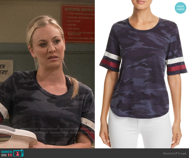 Splendid Striped-Sleeve Camo Tee worn by Penny Hofstadter (Kaley Cuoco) on The Big Bang Theory