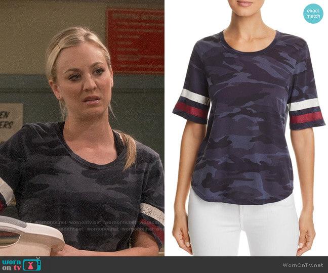 Splendid Striped-Sleeve Camo Tee worn by Penny Hofstadter (Kaley Cuoco) on The Big Bang Theory