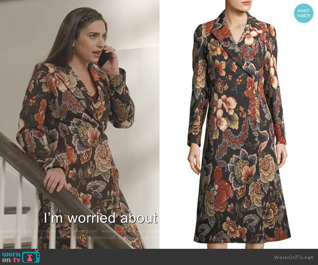 Vivienne Coat by Stella McCartney worn by Cristal Jennings (Daniella Alonso) on Dynasty