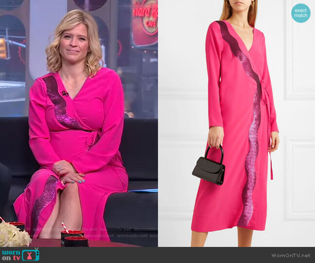 Sequin-Embellished Jersey Wrap Dress by Stine Goya worn by Sara Haines  on Good Morning America