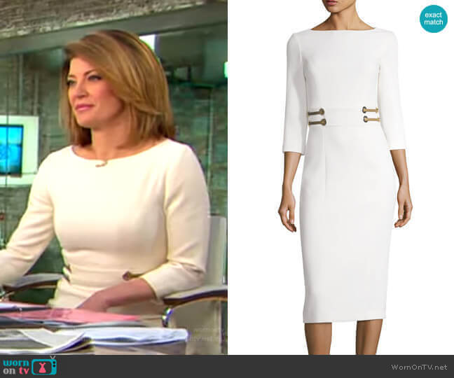 Stretch Bouclé Crepe Sheath Dress by Michael Kors worn by Norah O'Donnell  on CBS This Morning