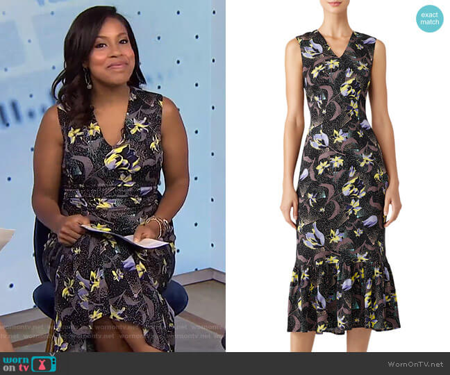 Floral Ruffle Hem Sheath by Suno worn by Sheinelle Jones  on Today