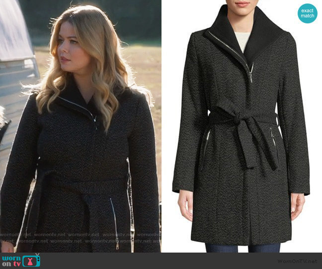 T Tahari Belted Asymmetric Zip Tweed Coat worn by Alison DiLaurentis (Sasha Pieterse) on PLL The Perfectionists