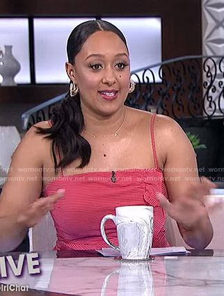 Tamera's red ruffle front dress on The Real