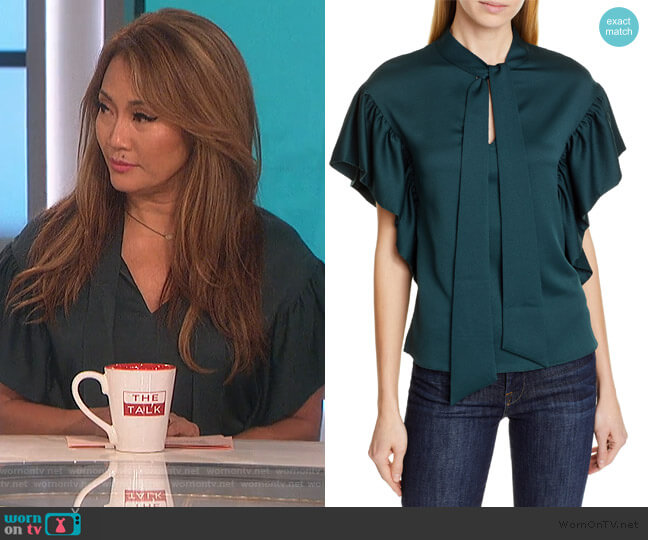 Tie Neck Ruffle Sleeve Top by Ted Baker worn by Carrie Inaba  on The Talk