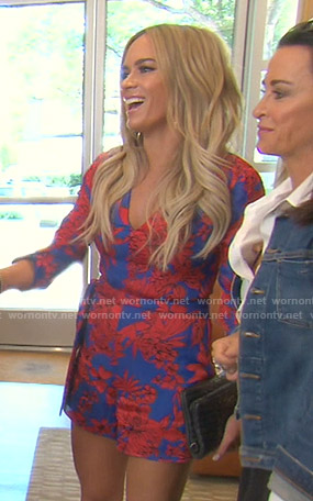 Teddi's blue and red floral romper on The Real Housewives of Beverly Hills