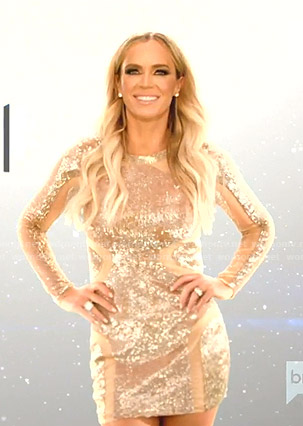 Teddi's sequin cut scene dress on The Real Housewives of Beverly Hills