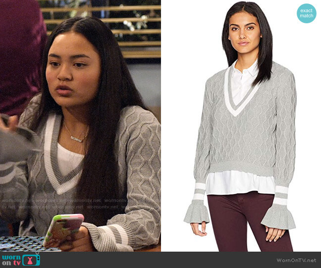 The Fifth Label Graduate V Neck Collegiate Sweater worn by Xuan (Tiana Le) on No Good Nick