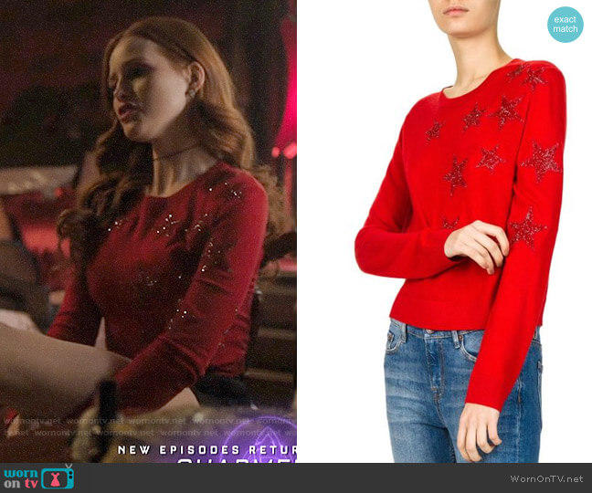 The Kooples Sparkling Star-Embroidered Sweater worn by Cheryl Blossom (Madelaine Petsch) on Riverdale
