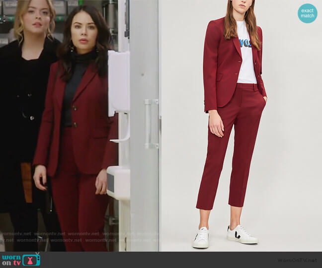Carissa jacket and Hartsdale Pants by Theory worn by Mona Vanderwaal (Janel Parrish) on PLL The Perfectionists