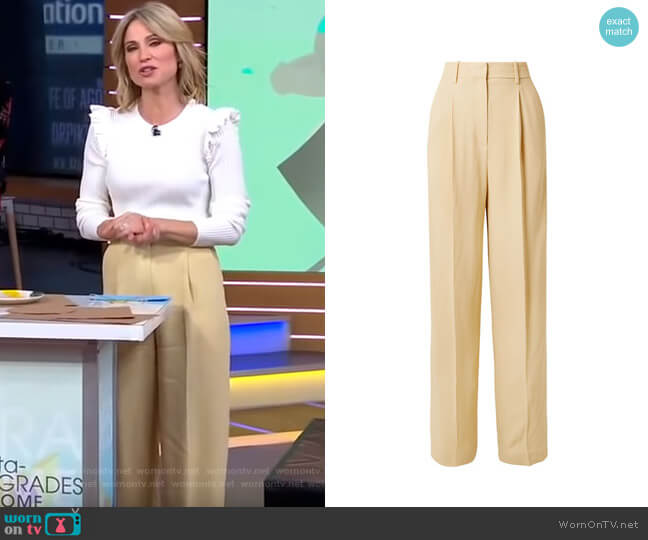 Crepe Wide-Leg Pants by Theory worn by Amy Robach  on Good Morning America
