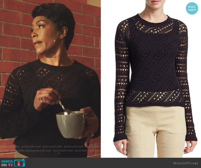 Crochet Crewneck Sweater by Thoery worn by Athena Grant (Angela Bassett) on 9-1-1