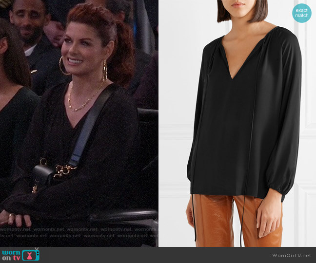 Gathered silk-chiffon blouse by Theory worn by Grace Adler (Debra Messing) on Will & Grace