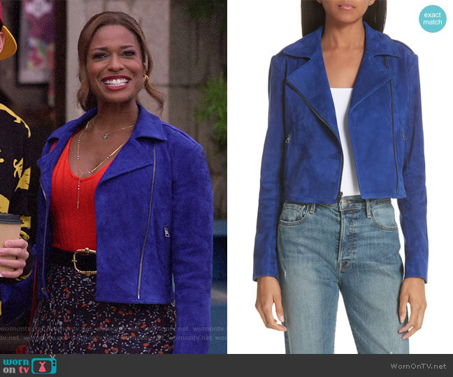 Sanda L Lamb Suede Moto Jacket by Theory worn by Poppy (Kimrie Lewis) on Single Parents