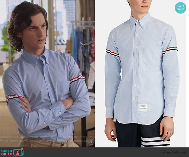Tricolor-Band Cotton Oxford Cloth Button-Down Shirt by Thom Browne worn by Peter Vack on The Bold Type