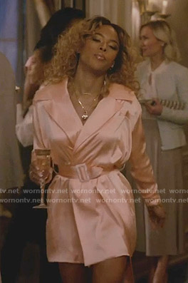 Tiana's pink belted wrap mini dress on Empire