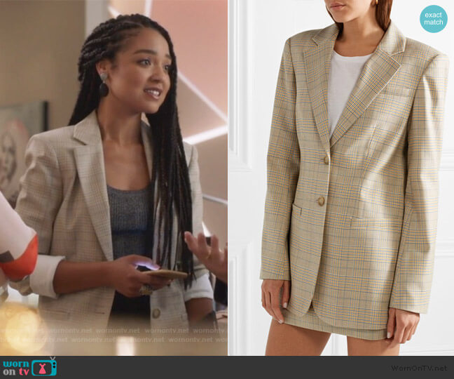 Prince of Wales checked blazer by Tibi worn by Kat Edison (Aisha Dee) on The Bold Type