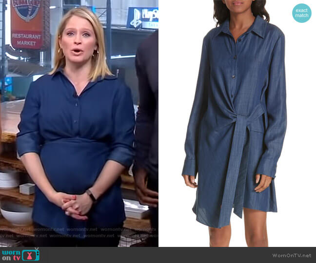 Side Tie Chambray Shirtdress by Tibi worn by Sara Haines  on Good Morning America