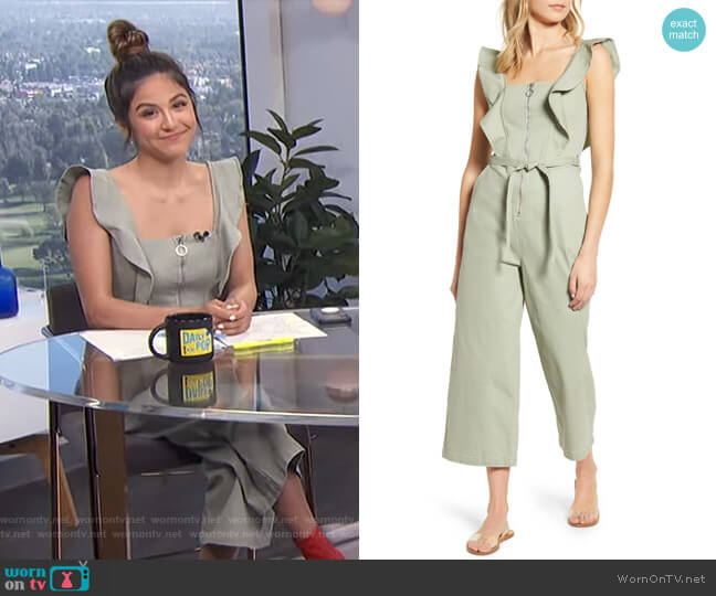 Ruffle Strap Belted Jumpsuit by Tinsel worn by Erin Lim  on E! News