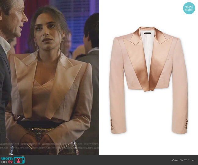 Cropped Tuxedo Jacket by Tom Ford worn by Cristal Jennings (Ana Brenda Contreras) on Dynasty