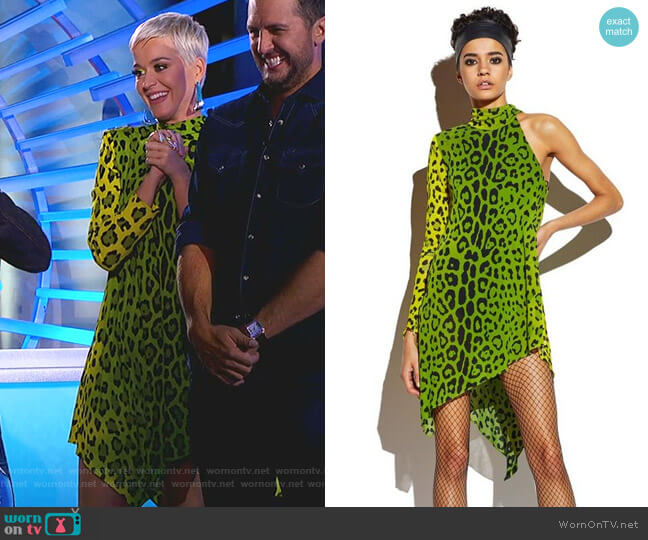 Leopard Asymmetrical Mini Dress by Tom Ford worn by Katy Perry (Katy Perry) on American Idol